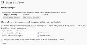 Configuración del lenguaje.