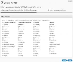 Auswählen der Sprachen für die Seite