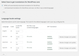 Automatic download for WordPress translations
