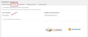 Register zum Einrichten der Übersetzer