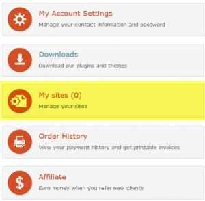 """您的wpml.org账户中的""""我的网站"""""""
