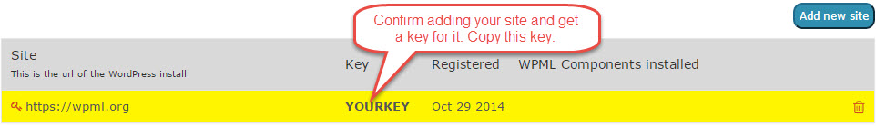 Your site key is ready. Copy it, so you can paste back in WordPress.