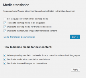 Media Translation admin screen