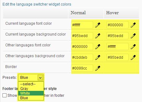 Style de couleur du sélecteur de langue