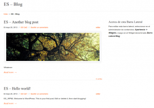 Spanish blog page