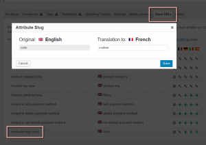 Translating attribute slugs