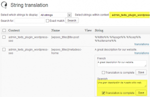 String Translation for WordPress SEO texts