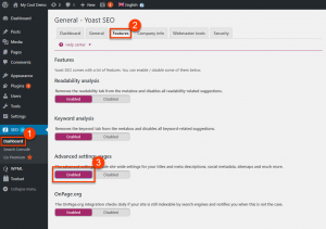 Enabling advanced settings pages in Yoast SEO