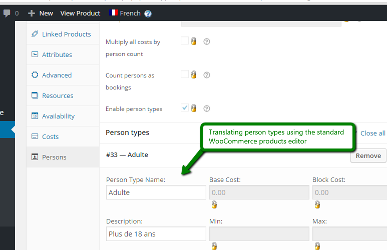 Translating persons labels using the WooCommerce products editor