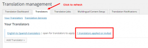 Showing the notification when a translator applies for the translation job