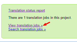 Viewing translation jobs for a project