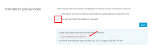 Checking for cancelled jobs in manual translation pick up mode