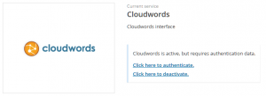 Activated but not yet authenticated Cloudwords service