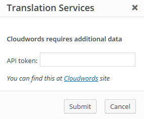 Cloudwords authentication popup