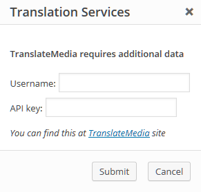 TranslateMedia authentication popup