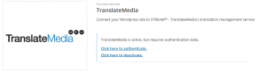 Activated but not yet authenticated TranslateMedia service