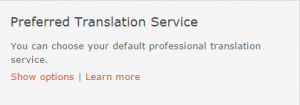 Preferred Translation Service setting