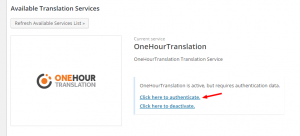 Authentifizierung von OneHourTranslation
