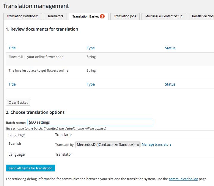 Sending SEO strings to Translation Basket