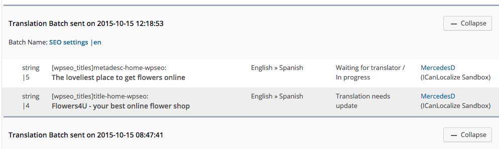 Status of Translation Jobs