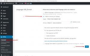 Nous avons configuré plusieurs domaines par langue accessibles sur la page WPML -> Langue.