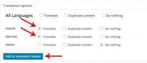 Selecting the languages to which you want to translate your content