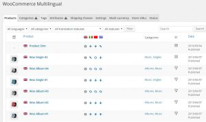 WooCommerce Multilingual default tab with products