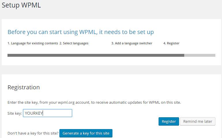 Registrierung von WPML