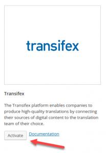 Activating Transifex