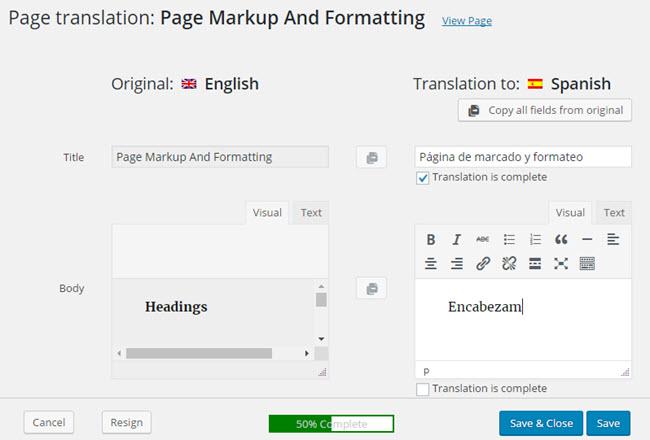Seite-an-Seite-Übersetzungseditor für Ihre Übersetzer