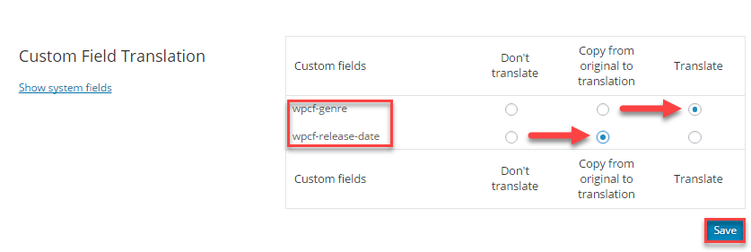Set custom fields to be translatable