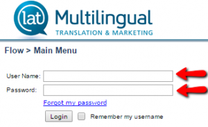 LAT Multilingual login page