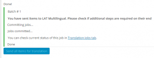 Basket contents successfully submitted to LAT Multilingual