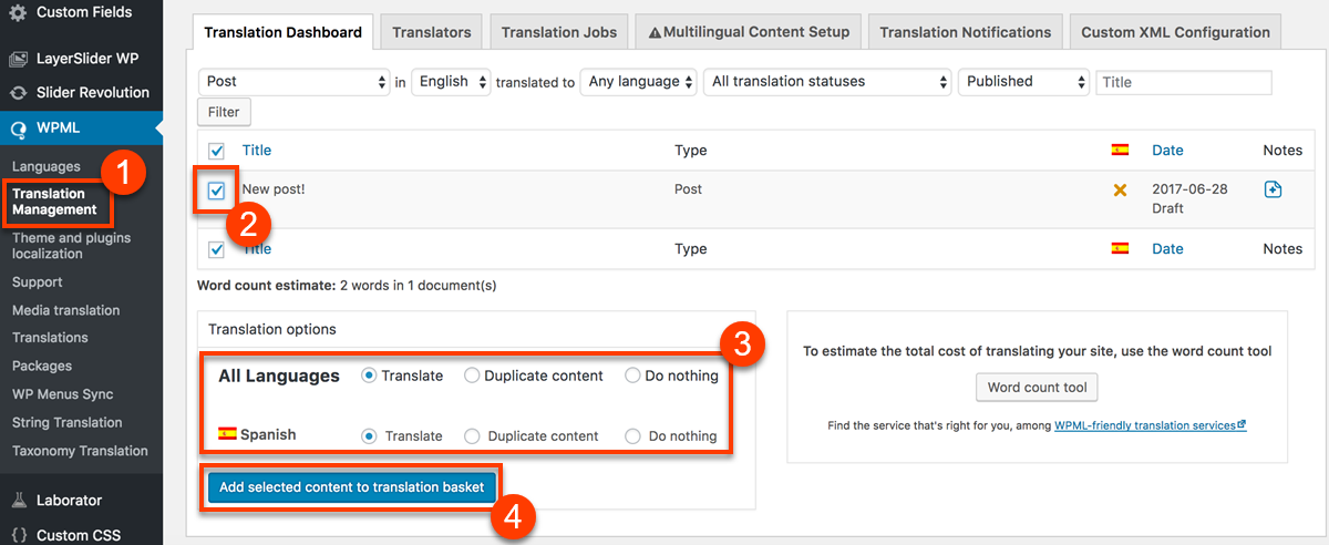 Using WPML to translate pages built with visual composer