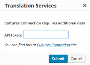Cultures Connection authentication dialog window