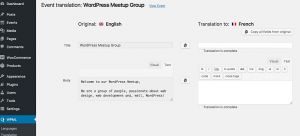 Translating an Event using the Translation Editor