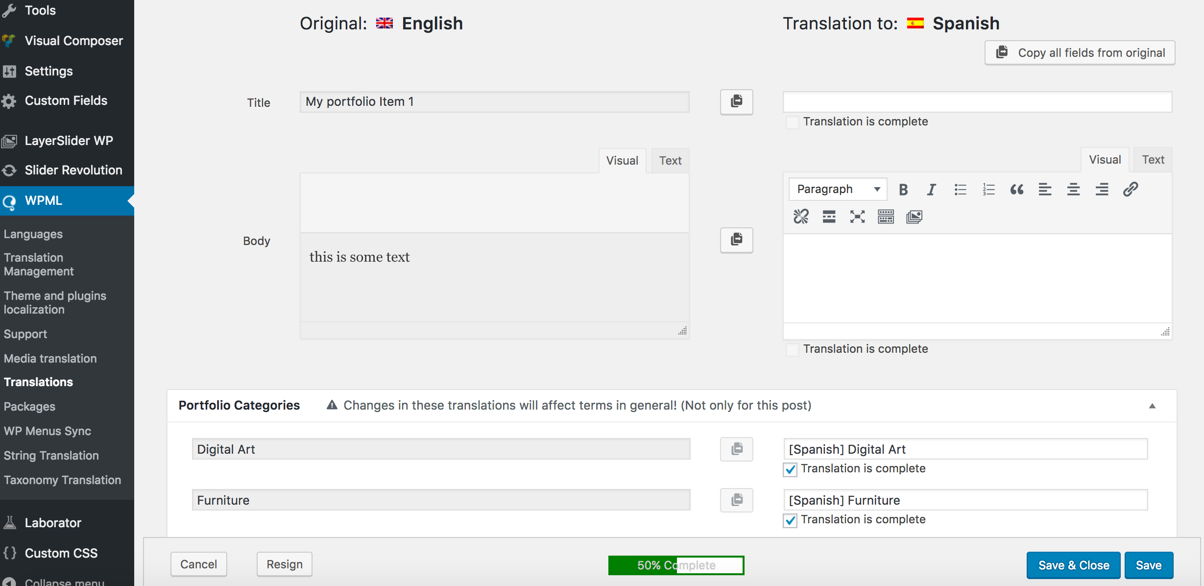 how to translate your site built with virtue theme using wpml