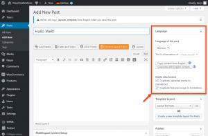 Manually translating a post using the standard WordPress editor
