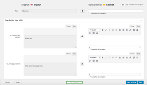 Using Translation Editor to translate a page created using a page builder