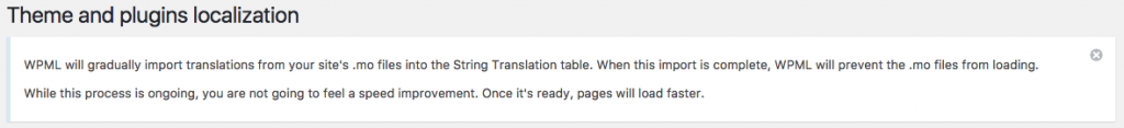 String Translation announce that it will start loading all the translations from the .mo files